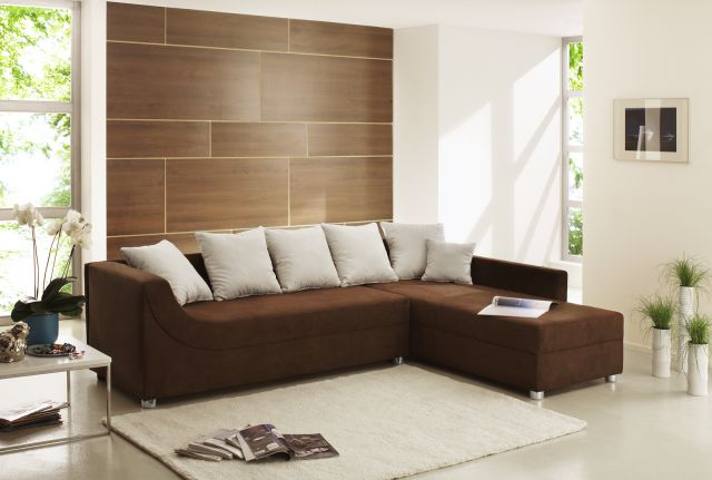 wohnlandschaft sofa isola microfaser alcatop braun ebay. Black Bedroom Furniture Sets. Home Design Ideas