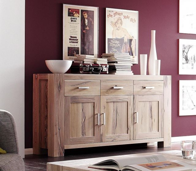 braxton sideboard anrichte eiche massiv wei gek lkt. Black Bedroom Furniture Sets. Home Design Ideas