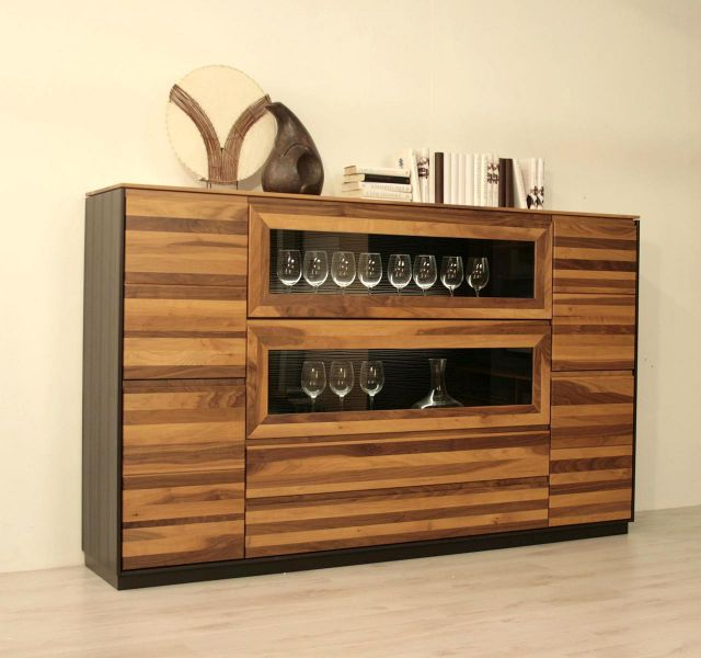 tessin highboard vitrine schrank nussbaum massiv orig w stmann 11 ebay. Black Bedroom Furniture Sets. Home Design Ideas