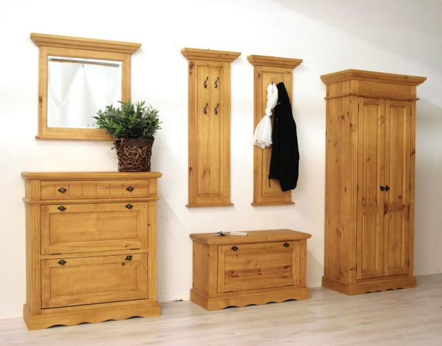 baltic garderobe 6 tlg landhausstil pinie massiv ge lt ebay. Black Bedroom Furniture Sets. Home Design Ideas