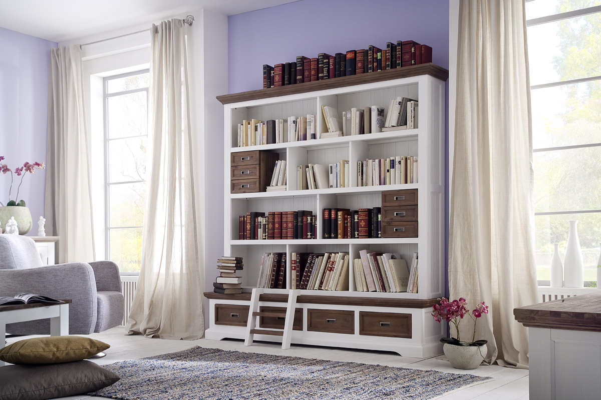 bibliothek akazie massiv wei cappuccino fleur regal mit leiter b cherwand ebay. Black Bedroom Furniture Sets. Home Design Ideas
