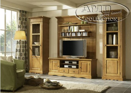 tv wohnwand pinie massiv landhausstil baltic. Black Bedroom Furniture Sets. Home Design Ideas