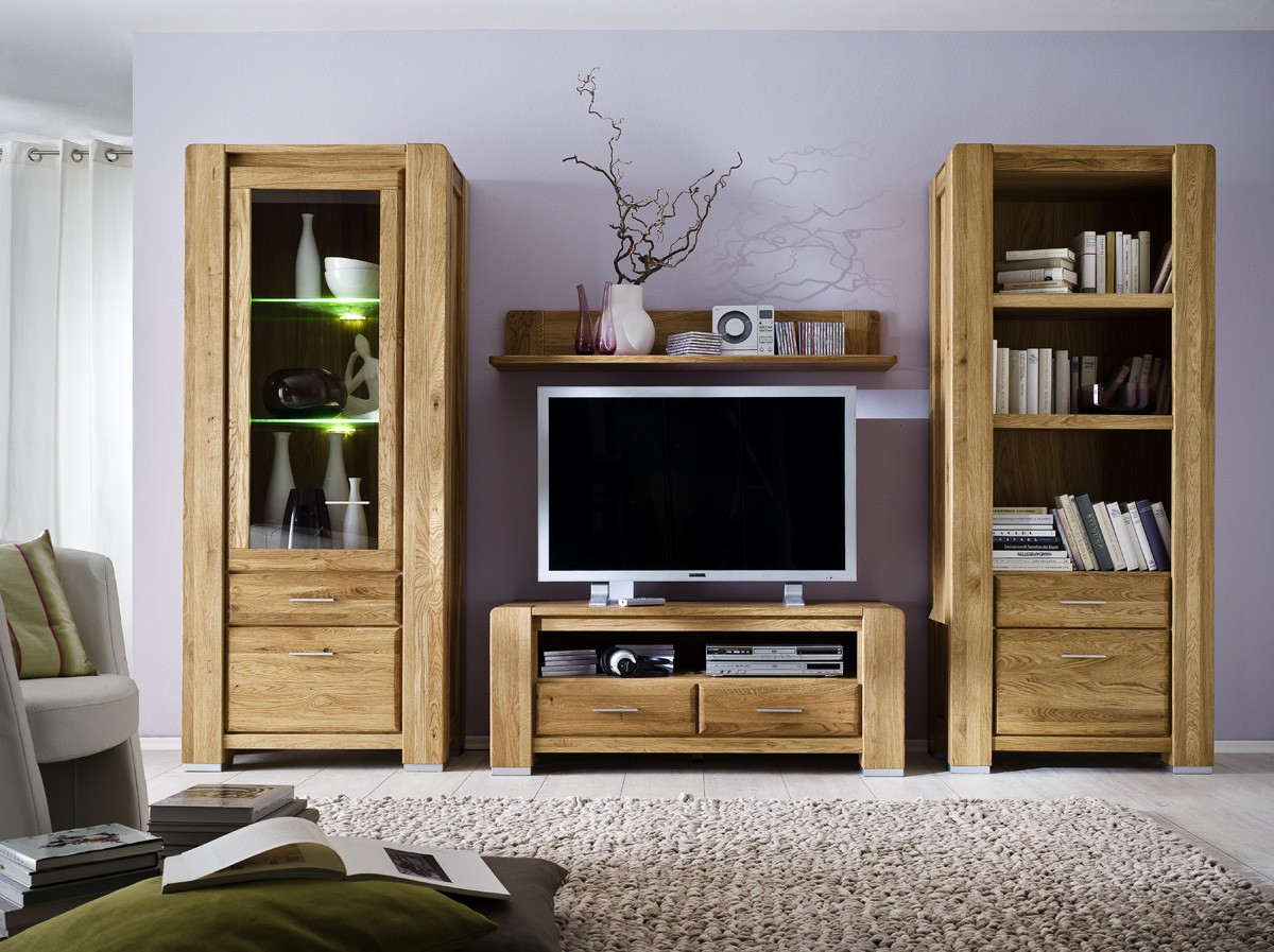 wohnwand wildeiche massiv ge lt campus natur sch n. Black Bedroom Furniture Sets. Home Design Ideas