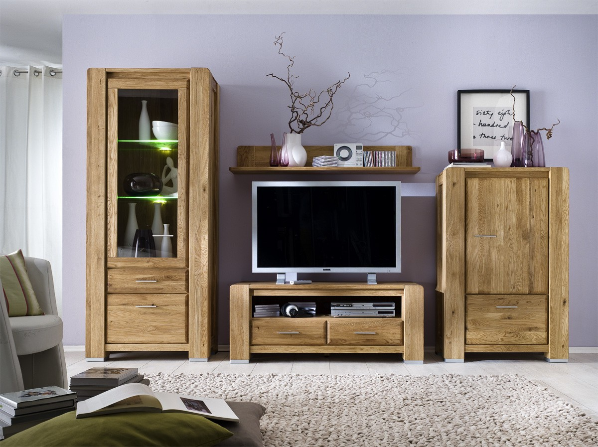 tv wohnwand wildeiche massiv ge lt campus neu. Black Bedroom Furniture Sets. Home Design Ideas