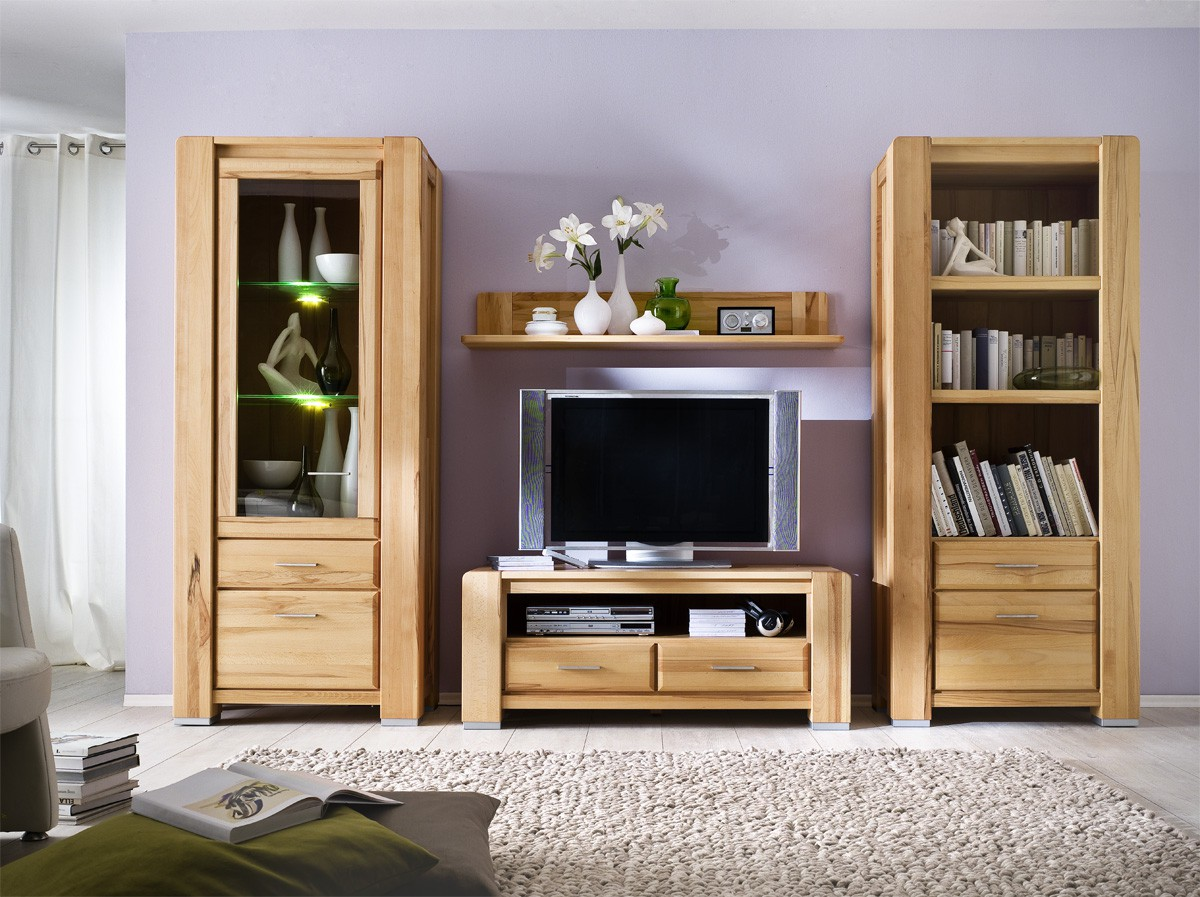 tv wohnwand kernbuche massiv campus nat rlich wohnen. Black Bedroom Furniture Sets. Home Design Ideas