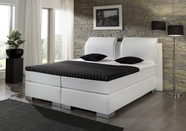 boxspringbett bett 140 x 200 lederoptik wei exzellenz. Black Bedroom Furniture Sets. Home Design Ideas