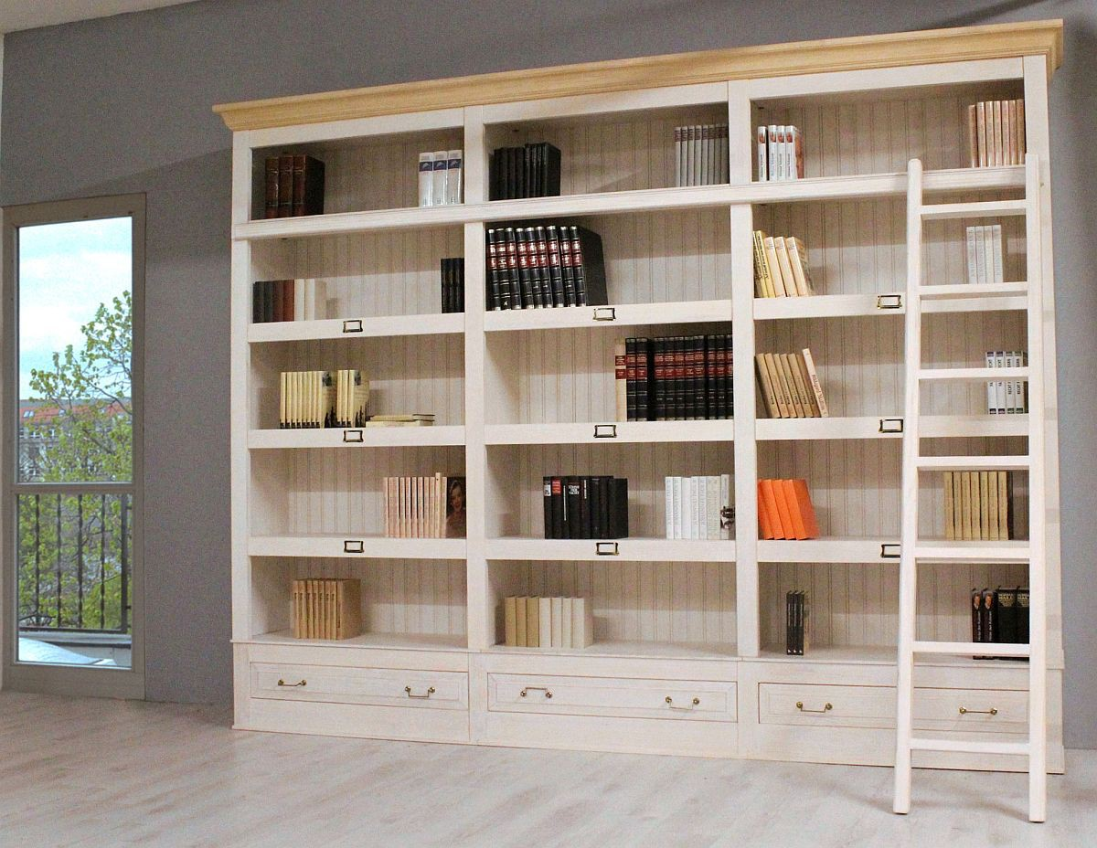 bibliothek pinie massiv wei natur urban. Black Bedroom Furniture Sets. Home Design Ideas