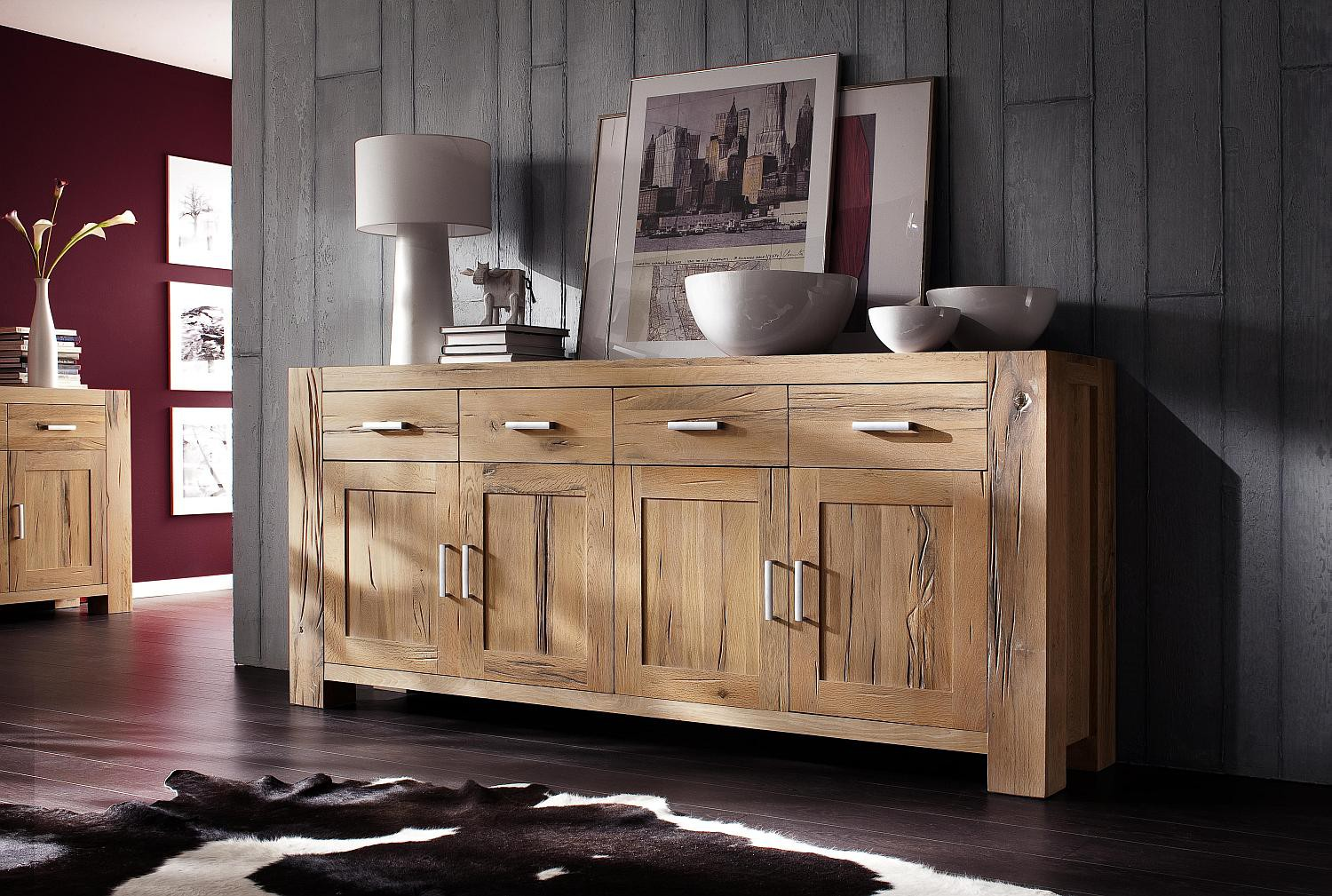 g nstiges sideboard eiche massiv natur braxton fausto. Black Bedroom Furniture Sets. Home Design Ideas