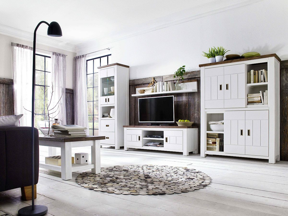 wohnwand havanna moderner landhausstil massiv. Black Bedroom Furniture Sets. Home Design Ideas