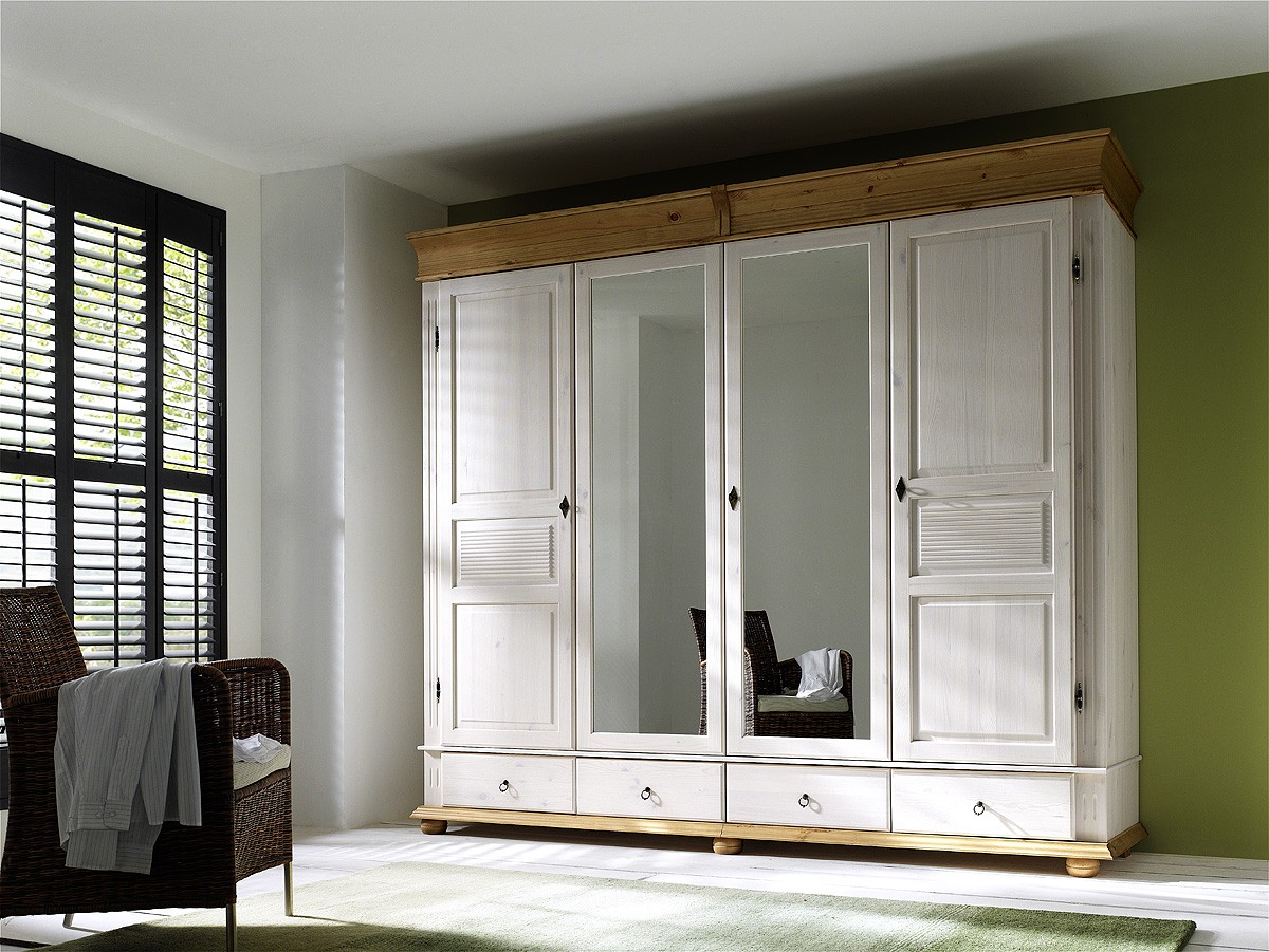 kleiderschrank kiefer massiv wei oslo im landhausstil. Black Bedroom Furniture Sets. Home Design Ideas