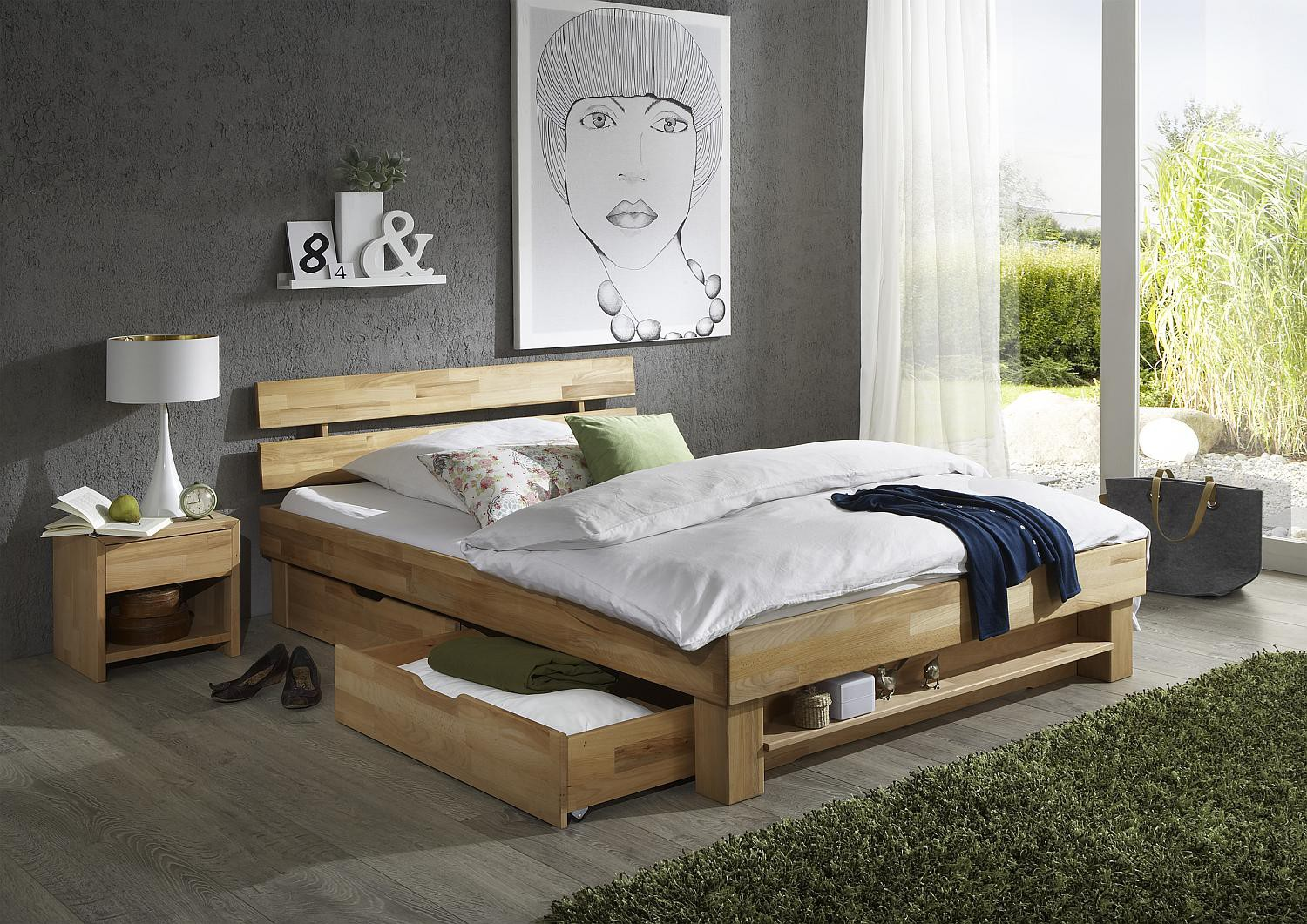 holzbett 180 x 200 cm kernbuche massiv judith. Black Bedroom Furniture Sets. Home Design Ideas