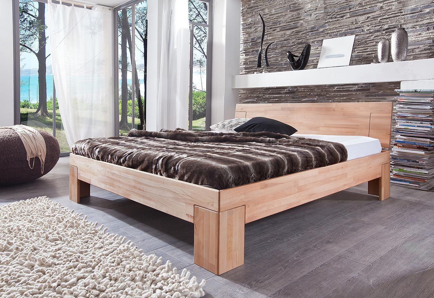holzbett 140 x 200 cm kernbuche massiv sara. Black Bedroom Furniture Sets. Home Design Ideas