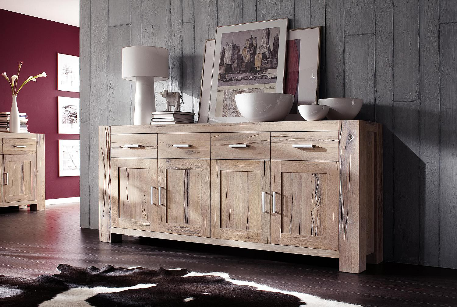 sideboard eiche massiv wei gek lkt braxton fausto. Black Bedroom Furniture Sets. Home Design Ideas