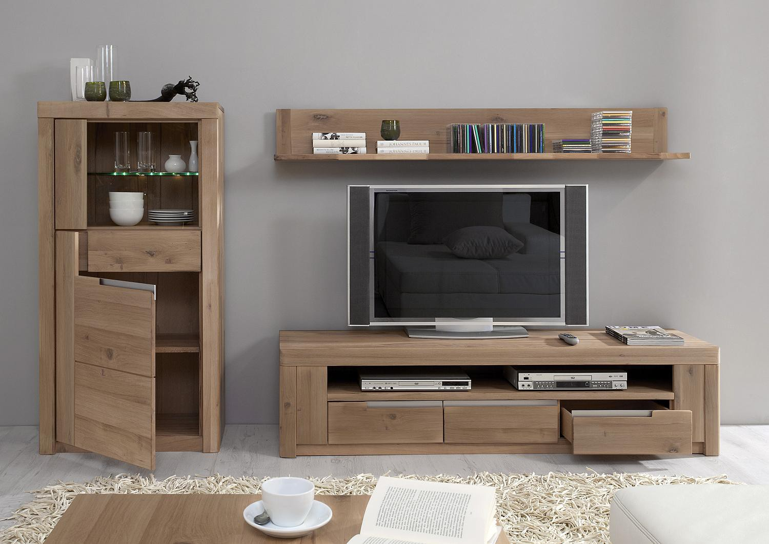 wohnwand wildeiche massiv solido made in germany. Black Bedroom Furniture Sets. Home Design Ideas