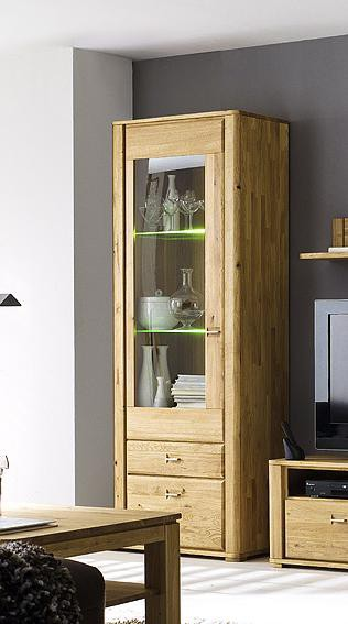 vitrine 1 trg eiche massiv ge lt baxton g nstig gut. Black Bedroom Furniture Sets. Home Design Ideas