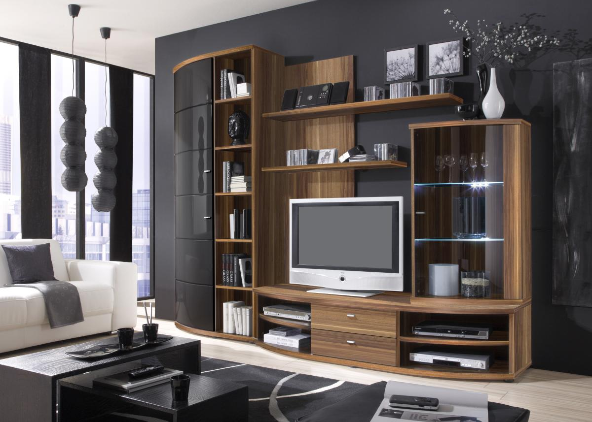wohnwand nussbaum schwarz. Black Bedroom Furniture Sets. Home Design Ideas