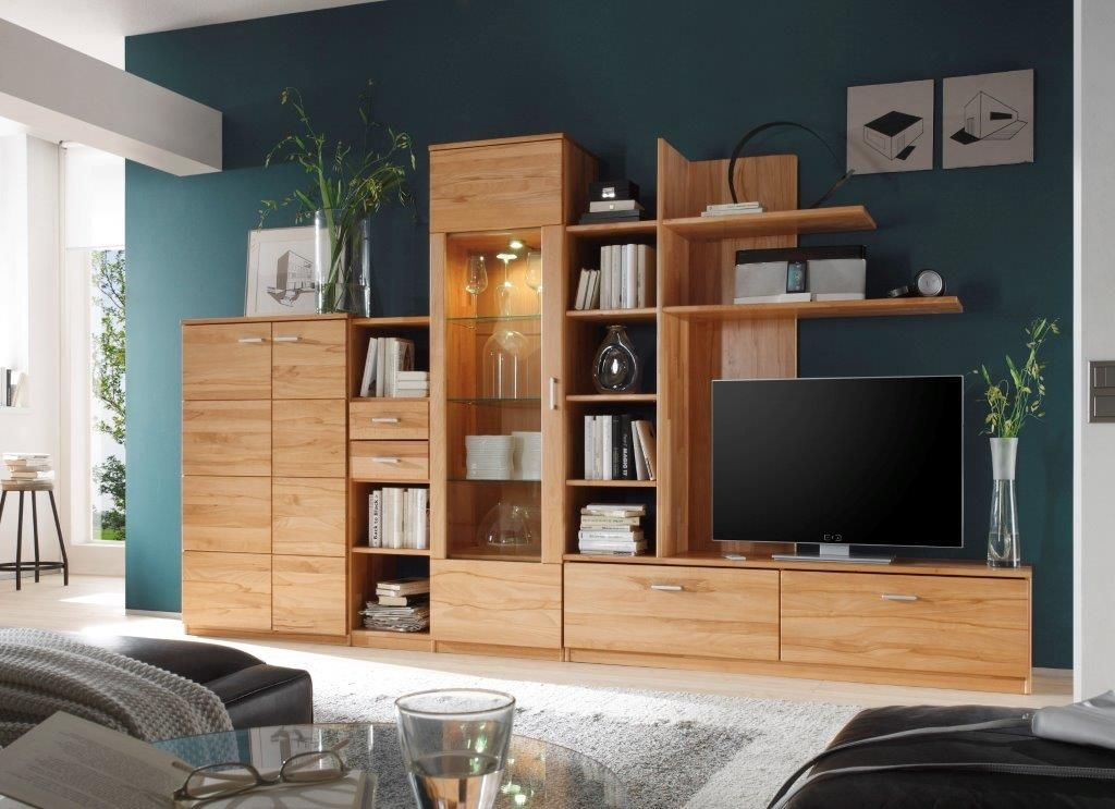 tv wohnwand buche massiv brasilia 0349 001 ebay. Black Bedroom Furniture Sets. Home Design Ideas