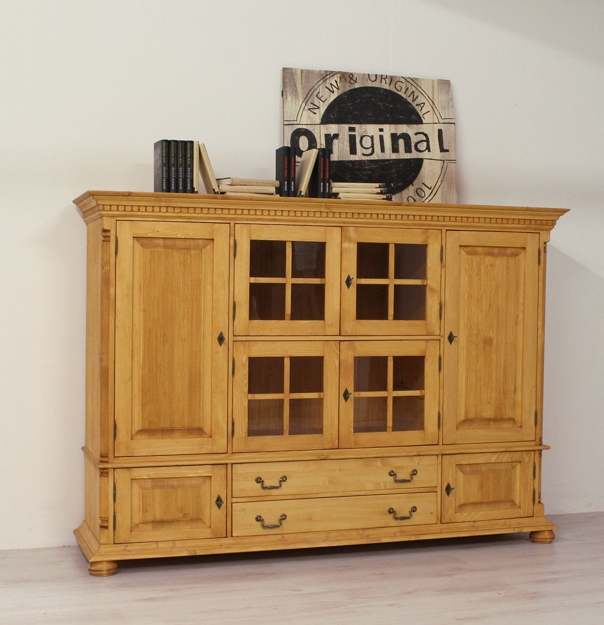 highboard schrank landhaus fichte massiv vitrine buffet wales ebay. Black Bedroom Furniture Sets. Home Design Ideas