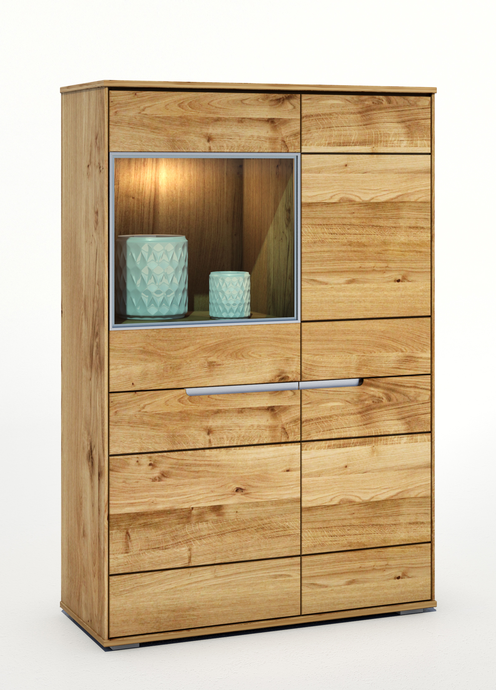 multischrank wildeiche massiv ge lt lissy highboard vitrine schrank multivitrine ebay. Black Bedroom Furniture Sets. Home Design Ideas
