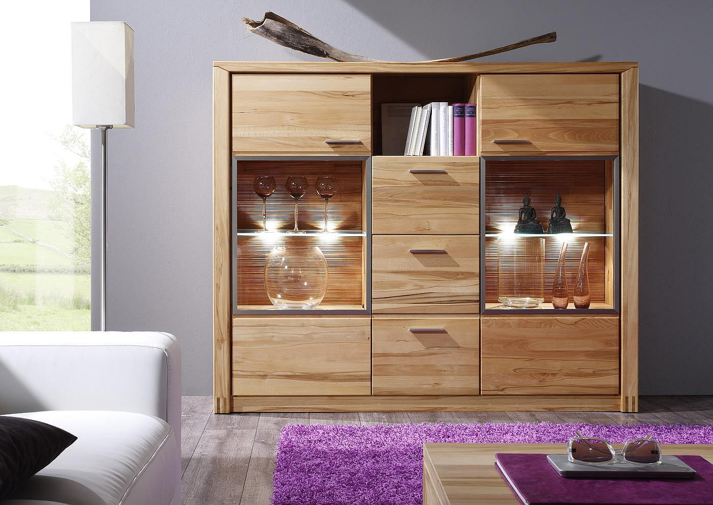 orlando highboard kernbuche massiv ebay. Black Bedroom Furniture Sets. Home Design Ideas