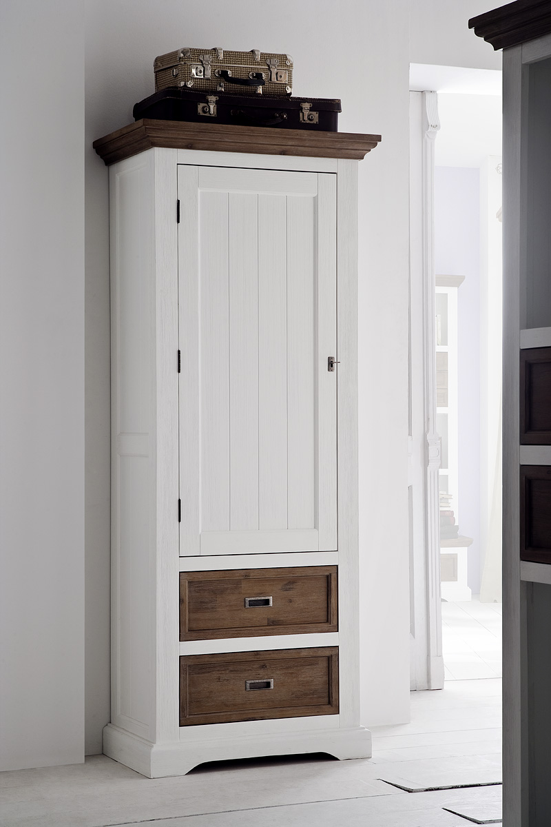 schrank dielenschrank akazie massiv landhausstil wei cappuccino fleur ebay. Black Bedroom Furniture Sets. Home Design Ideas