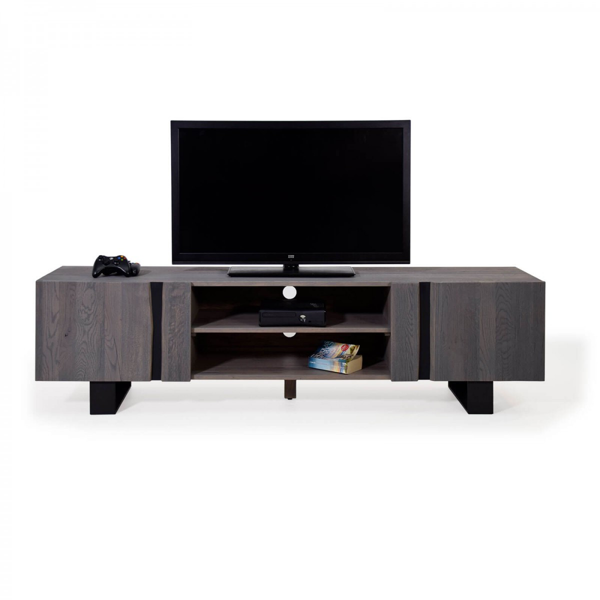 tv lowboard wildeiche massiv grau metall 200 edge. Black Bedroom Furniture Sets. Home Design Ideas
