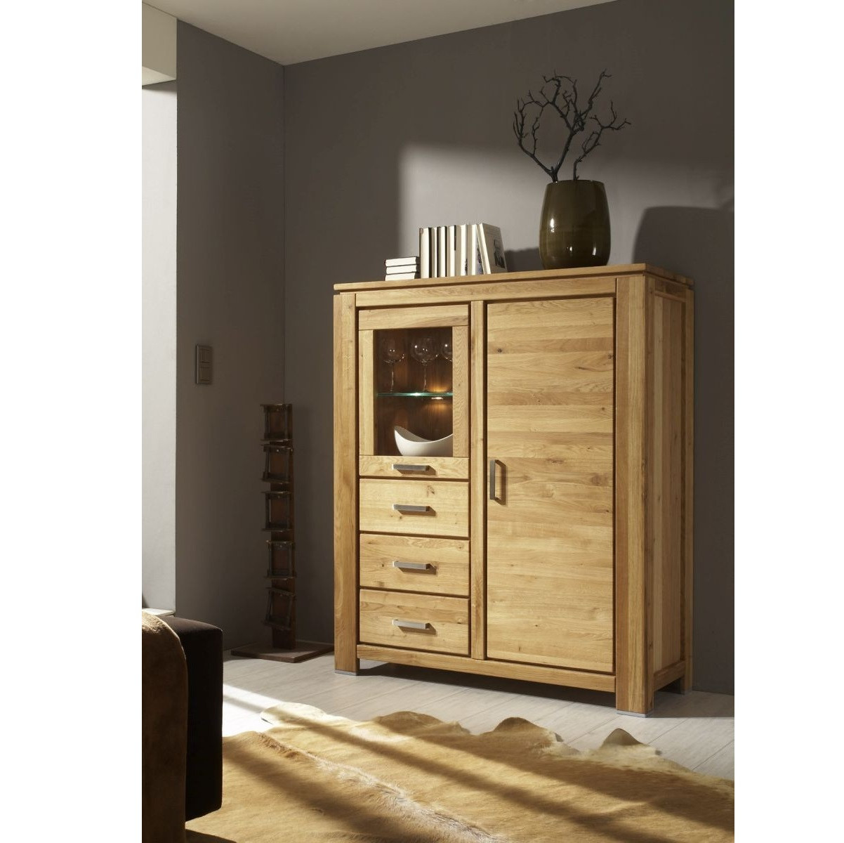 vertiko highboard wildeiche massiv ge lt faro. Black Bedroom Furniture Sets. Home Design Ideas