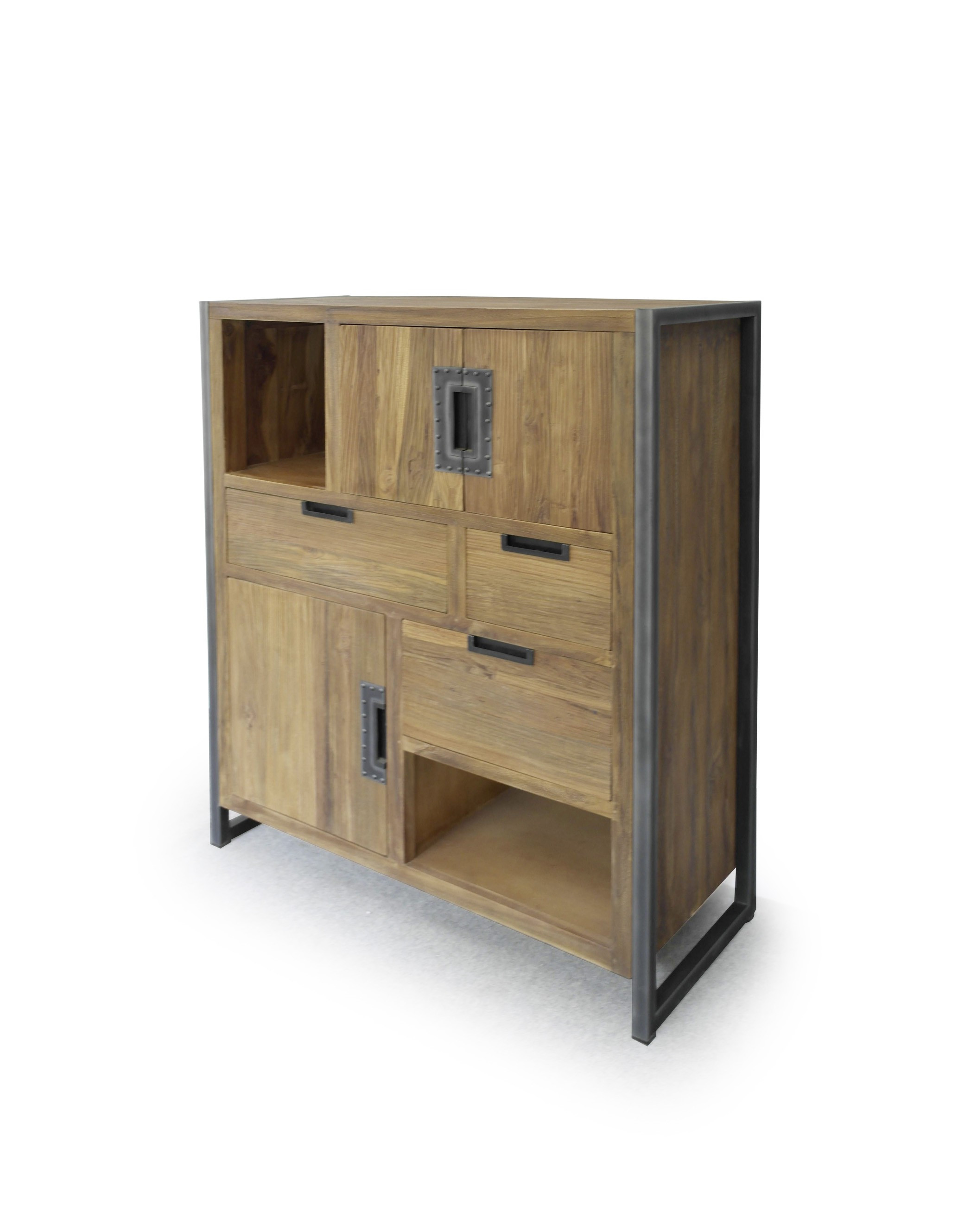 highboard teakholz metall industrial style sumatra. Black Bedroom Furniture Sets. Home Design Ideas