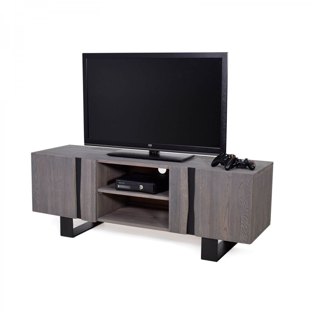 tv schrank wildeiche massiv grau ge lt metall 150 edge. Black Bedroom Furniture Sets. Home Design Ideas